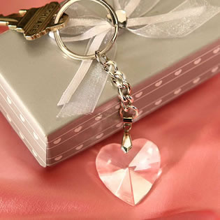 Chrome Keychain with Romantic Crystal Heart