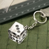 Las Vegas Themed Chrome Keychain with Crystal Dice