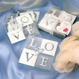 LOVE Glass Coaster Set with Ribbon and Tag