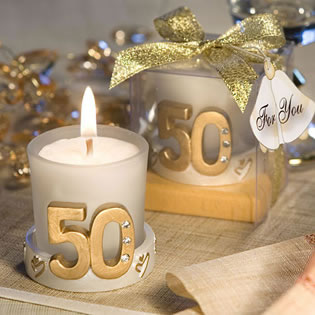 Golden Anniversary Candle Favors