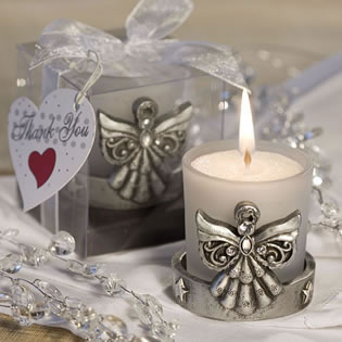 Frosted Candle Holder in Angel Base