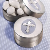 Aluminum Mint Tin Favors - Silver Cross Design