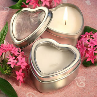 Heart Candle Tin Wedding Favors