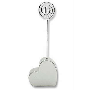 Silver Heart Wedding Place Card Holders