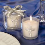 Candle Favors with Sparkling Silver Cross