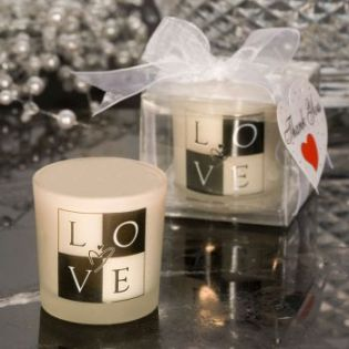 LOVE design candle favors