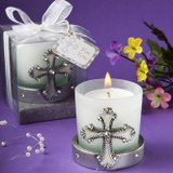 <em>Regal Favor Collection</em> Cross Themed Candle Holders