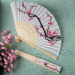 Delicate Cherry Blossom Design Silk Folding Fan Favors..