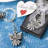 Chrome Key Chain Favors with Angel Charm