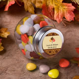 Fall wedding favors favor favor personalized fall themed glass jar wedding favors junglespirit Image collections