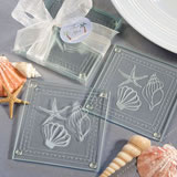 Shell Glass Coaster Wedding Favors (Sets of Two)