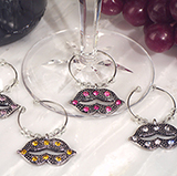 Dazzling Divas Collection Lips Wine Charms