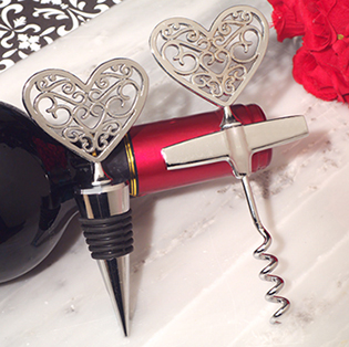 Ornate Silver Heart Wine Stopper and Opener Set