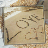 Love on the Beach Glass Coasters