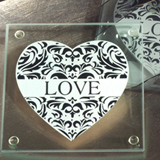 Stylish Damask Love Glass Coasters