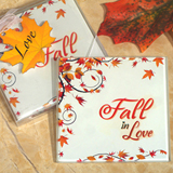 Stylish Fall in Love Glass Coasters