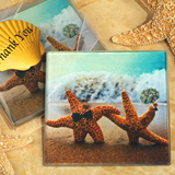 A Perfect Pair Beach Theme Glass Coasters