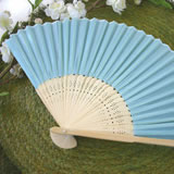 Blue Silk Wedding Fans