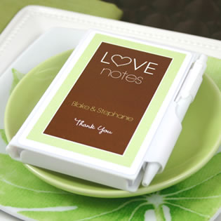 "Personalized ""Love Notes"" Notebook Wedding Favors"