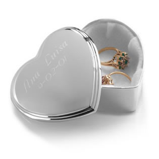 Silver Plated Engraved Heart Trinket Box