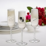 Printed Champagne Flute Wedding Favors