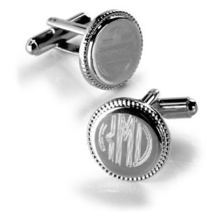 Personalized Silver Round Beaded Cufflink Favors