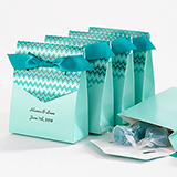 Chevron Tent Favor Box, Teal, teal ribbon. Package of 25.
