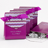 Chevron Tent Favor Box, Purple, purple ribbon. Package of 25.