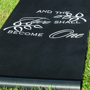 Two Shall Become One Black Aisle Runner