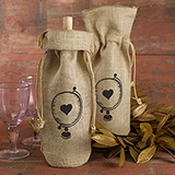 Burlap Wine Bag - Globe with Heart