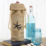 Burlap Wine Bag - Starfish