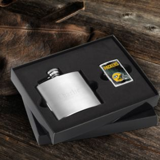 Personalized NFL Zippo Lighter and Brushed Flask Gift Set