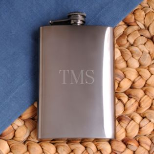 Personalized Gunmetal Flask