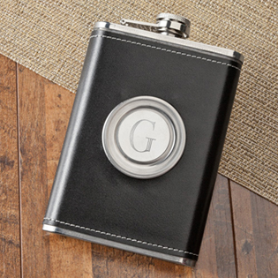 Leather Flask with Folding Shot Glass 8oz