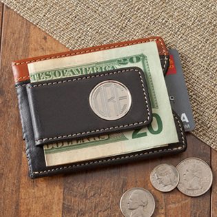 Two-Toned Leather Magnetic Money Clip Wallet