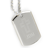 Small Inspirational Dog Tag with Engraved Cross