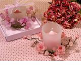 Elegant Frosted Pink Glass Flower Candle Holder