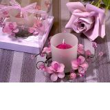 Elegant Frosted Lavender Glass Flower Candle Holder