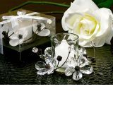 Elegant Black & White Crystals Flower Candle Holder