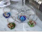 Murano Art Deco Collection Heart Design Wine Charms