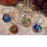 Murano Art Deco Collection Teardrop Design Wine Charms