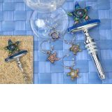 Murano art deco Starfish design Wine opener-Stopper combination with 4 piece wine charms set