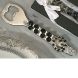 Murano Art Deco Bottle Opener with Black Bead Design