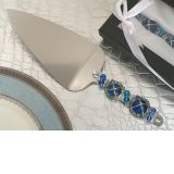 Murano Art Deco Cake Server - Blue Beads