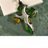 Murano Art Deco Green and Silver Glass Cross
