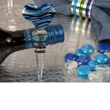 Murano Art Deco Heart Design Stopper (Blue and Silver Colors)