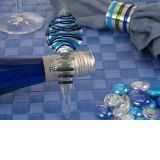 Murano Art Deco Teardrop Design Stopper (Blue and Silver Colors)