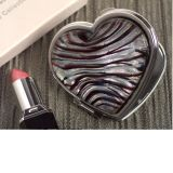 Murano Art Deco Heart Compact Mirror Silver and Burgundy Glass