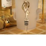 Murano Art Deco Swirl Design Stopper (Gold and White)