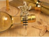 Murano Art Deco Starfish Design Stopper (Gold and White Colors)